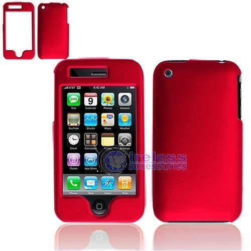 RUBBER FEEL Red Snap-On Cover Hard Case Phone Protector for Apple iPhone 3G