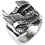"""10MM Polished Stainless Steel Biker Ring With Eagle and """"LIVE TO RIDE,RIDE TO LIVE"""" Engraved in front"""