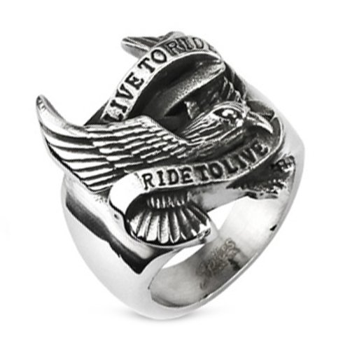 10MM Polished Stainless Steel Biker Ring With Eagle and