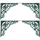 Karara Mujassme Cast Aluminium Victorian Style Antique Green Shelf L-Bracket Home Décor (Set Of 4)
