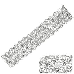 18k White Gold 9.19 Dwt Diamond Floral Bracelet.7 By 1.5 Inch Wide. 60grams - JewelryWeb