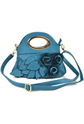 FLOWER CLUTCH OVAL METAL HANDLE EVENING BAG CROSSBODY SLING HANDBAG PURSE - TURQUOISE BLUE