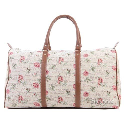 Signare Tapestry Big Holdall Weekender Luggage Bag for women in Floral Rose Pink Design