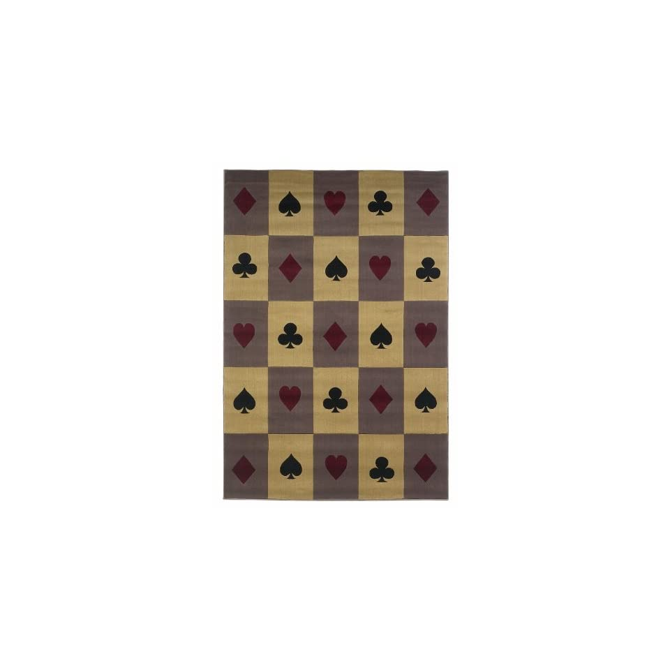 Multi Full House Contemporary Cards Area Rug 4.11.