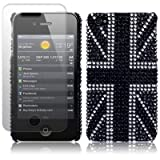 iPhone 4S / iPhone 4 Black Union Jack Diamante Case / Cover / Shell / Shield + Screen Protector Part Of The Qubits Accessories Rangeby Qubits
