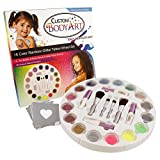 Glitter Tattoo Set by Custom Body Art 16 Color Glitter Wheel Body Art Set with 16 Large Glitter Colors, 30 Uniquely Themed Temporary Tattoo Stencils, 4 Glue Applicator Bottles, 2 Glitter Brushes - The Perfect Kit for Fashionable Party Fun for Children, Teenagers & Adults