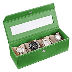 Ecoleatherette Handcrafted Eco Friendly 4 Watch Box, Watch Case, Watch Organizer (Vibrant Green)