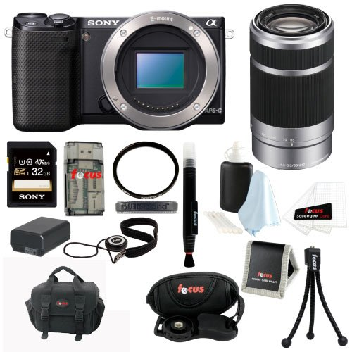Sony Nex-5T Nex-5T/B Nex-5Tb Compact Interchangeable Lens Digital Camera (Body Only) + Sony Sel55210 55-210Mm F/4.5-6.3 Telephoto Lens + Sony 32Gb Sd Card + Tiffen 49Mm Uv Protector + Replacement Battery For Np-Fw50 + Accessory Bundle