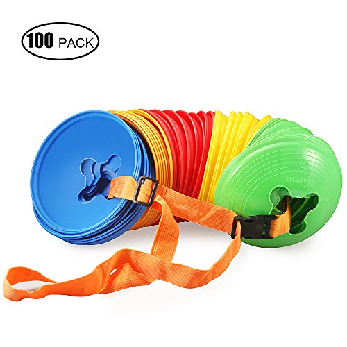 100-Pack Kevenz Plastic Sport Soccer Disc Cones Markers for Football Training (Yellow/Red/Green/Blue/Orange) (Motorcycle Practice Cones compare prices)