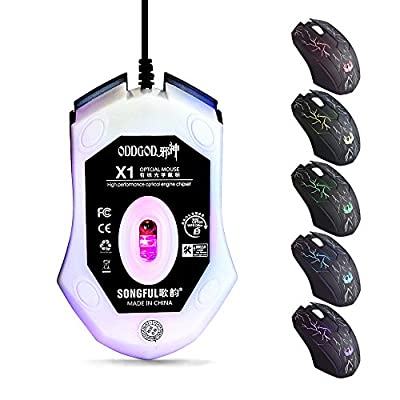 DLAND Ergonomic LED Stress-ease Wired Mouse with 7 Shooting LED Colors and 2pcs Per Bag
