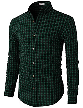 h2h mens casual slim fit button check patterned