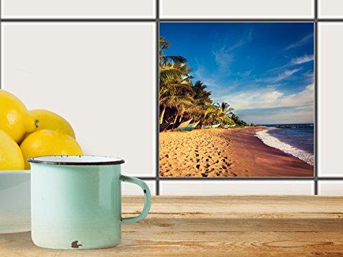 fliesenfolie selbstklebend 20x20 cm 1x1 design longboat beach erholung klebefolie k che bad. Black Bedroom Furniture Sets. Home Design Ideas