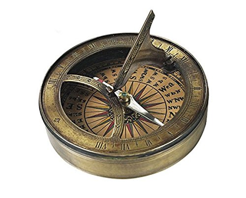 Authentic Models Bronze 18th Century Sundial and Compass