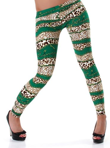 PF-Fashion Damen Leggins Leggings Leo-Ketten-Print - 38-40 Grün