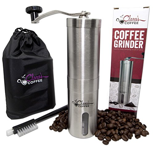 Clara's Coffee Stainless Steel Body and Adjustable Ceramic Conical Burr Manual Coffee Grinder