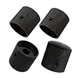 Pack of 4pcs Brass Dome Knob Volume Tone Control Knobs for Electric Guitar Bass Screw Type Black