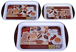 SKI Food Serving Trays for Coffee Table - Set of 3 Trays (Big, Medium & Small)
