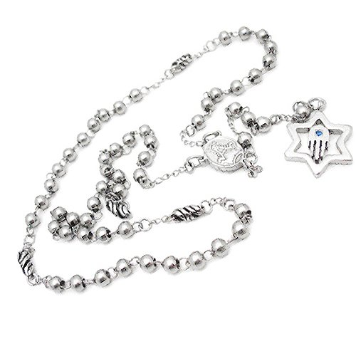 Stainless Steel Rosary Bead Necklace with Star of David and HAMSA Symbol inside (26