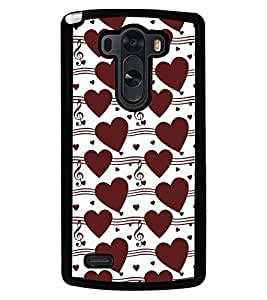 Fuson Premium Musical Heart Metal Printed with Hard Plastic Back Case Cover for LG G3