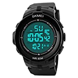 Aposon Men's Digital Electronic Sport Watch Multifuntional 24H Military Time Quartz Waterproof Casual LED Back Light with Simple Large Numbers 164ft 50M Water Resistant Calendar Day and Date - Black