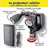 ProBache - Lampe double projecteur solaire orientable 38 leds avec détecteur de mouvement