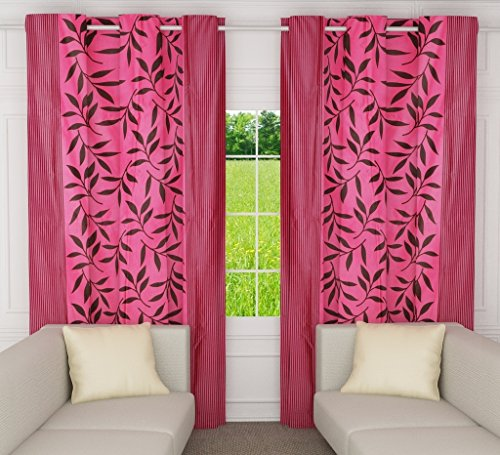 Home Candy Leaves 2 Piece Polyester Window Curtain Set - 60