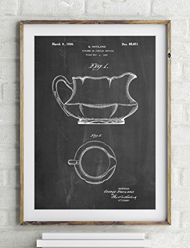 Haviland Basin Pitcher Patent Poster Color Antique Grid Parchment Size 24x36 (Antique Pitcher And Basin compare prices)