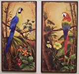 Exotic Tropical Parrot Wall Art Set of 2