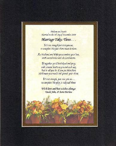 Personalized Touching And Heartfelt Poem For Wedding - Marriage Takes Three . . . Poem On 11 X 14 Inches Double Beveled Matting (Black On Gold front-350501