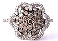LeVian Chocolate and White Diamonds Flower Ring 1.10 ct 14k White Gold Size 7