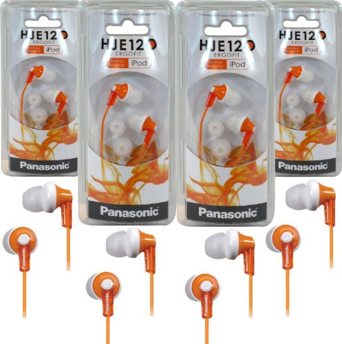 Panasonic Rp-Hje120 Ergofit In-Ear Headphones Stereo Earbuds (4-Pack, Orange)