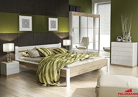 Schlafzimmer komplett 110022 4-teilig mit Doppelbett 180x200cm weiß Hochglanz eiche san remo