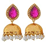 Indian Antique Jewelry Plush Crystal Jhumki Earrings Purple White Maayra MY3817