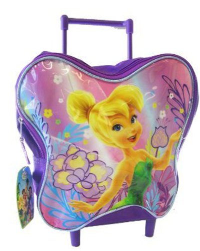 Tinker Bell Rolling Backpack -Toddler Size Fairy Tinkerbell Wheeled Backpack (Butterfly Shape)