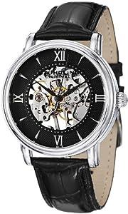 Stuhrling Original Men's 458G2.33151SET Classic Delphi Chamberlain Mechanical Skeleton Black Dial Watch Set