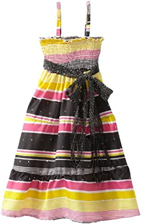 One Step Up Little Girls' Stripe Skirt Dress With Ruffles, Black, Large 6X