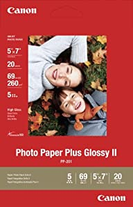 Canon PP-201 5-Inch x 7-Inch Photo Paper Plus Glossy (20 Sheets/Package)