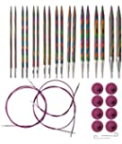 Knit Picks Options Interchangeable Rainbow Wood Circular Knitting Needle Set