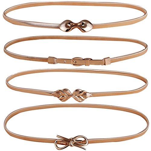 kilofly 4pc Women's Gold Metal Thin Skinny Stretch Cinch Belt Fashion Waistband (Skinny Stretch Belt compare prices)