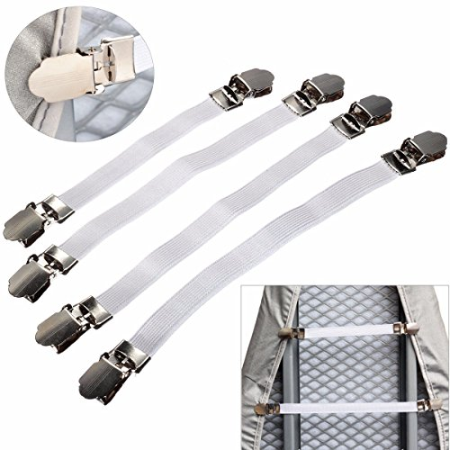 KINGSO 4pcs Adjustable Ironing Board Cover Fasteners Clips Elastic Bed Sheet Grips (Ironing Board Cover Clips compare prices)