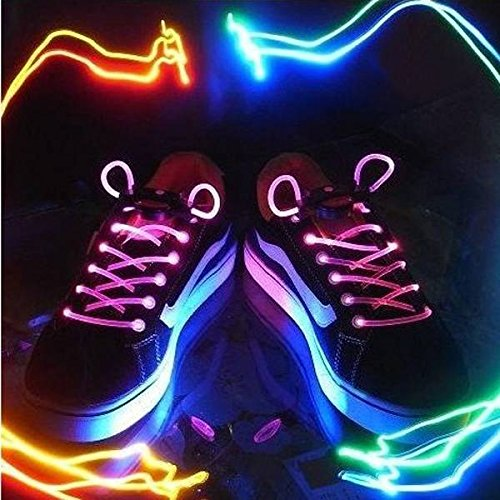 CAMTOA Multicolore Lacci led luminosi LED Lampeggiante Lacci per Scarpe, Borse Discoteca e Feste Party Dance Night Race 17 colori disponibili Blu