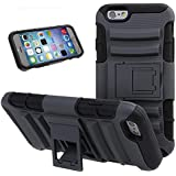 Nsstar™ iPhone 6 Case,iPhone 6(4.7) Heavy Duty Dual Layer Hard Plastic Soft Silicone Rugged Shell Hybrid Protective Phone Case Cover with Kickstand Case for Apple iPhone 6 iPhone 6 4.7inch with 1pcs Free Cup Mat Color Ramdon (Black)