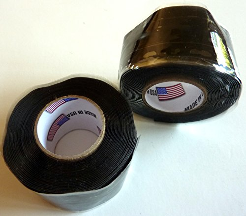 """2X Philmore Self-Fusing Black Silicone Rubber Emergency Repair Tape Seals Insulates Waterproofs, 1"""" X 10Ft"""