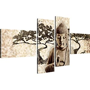 buddha erwachter buddhismus wandbilder kunstdruck auf leinwand sepiat ne 130x60 cm amazon. Black Bedroom Furniture Sets. Home Design Ideas