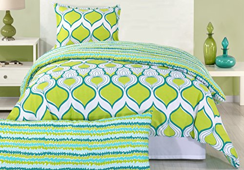 Trina Turk 2-Piece Geo Drop Comforter Set, Twin, Lime Green