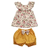 GSHOOTS Baby Girls' 2PCS Clothes Little Flower Ruffle Collar Top + Bowknot Shorts Outfit SetSet (90/6-12 Months, Ginger Garden)