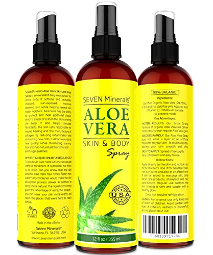 Aloe Vera SPRAY for Face, Skin & Hair - 99% ORGANIC, Made in USA, Big 12 oz - EXTRA Strong - SEE RESULTS OR - Easy to Apply - No THICKENERS so it Absorbs Rapidly with No Sticky Residue. (Organic Passion Fruit Juice compare prices)