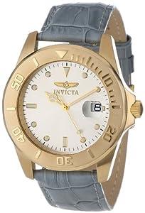 Invicta Men's 10230-007 Pro Diver Silver Dial Grey Leather Watch