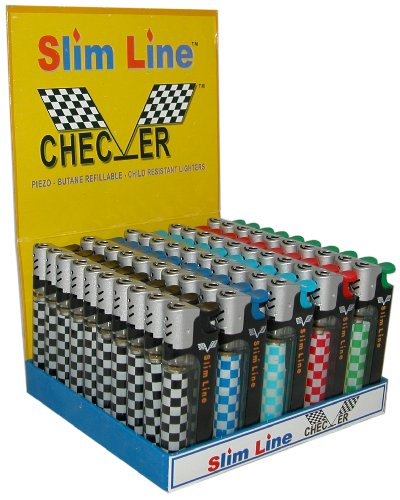 Slim Line Checker Hi Gear Electronic Refillable Lighters - Pack Of 50 With Stand