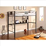 Ameriwood Silver Screen Loft Bunk with Desk in Black and Silver